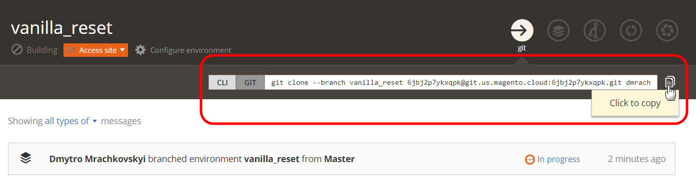 Click to copy the git clone command