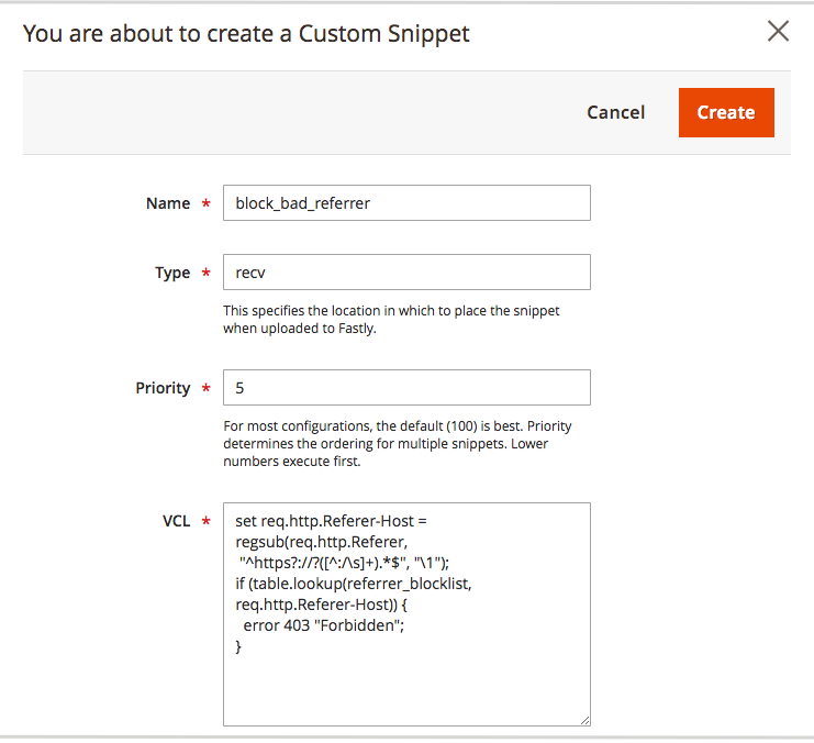 Create custom referrer block VCL snippet
