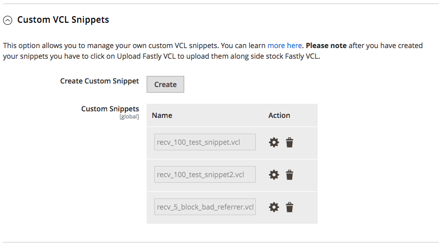 Manage custom VCL snippets
