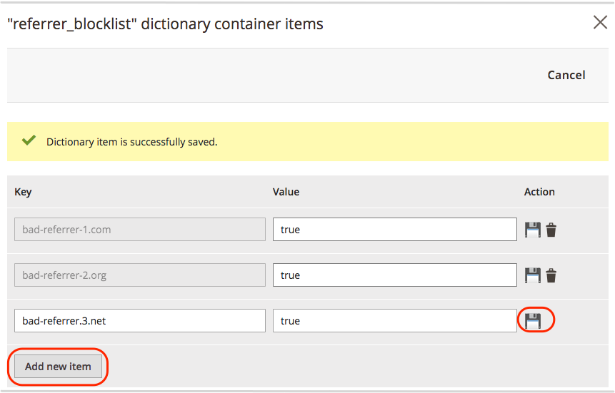 Add bad referrer dictionary items