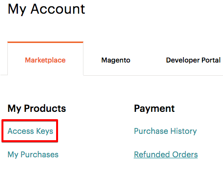 Get your secure access keys on Magento Marketplace