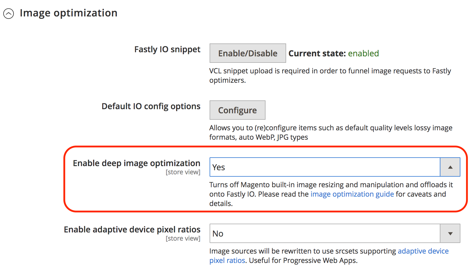 Enable Fastly IO deep image optimization
