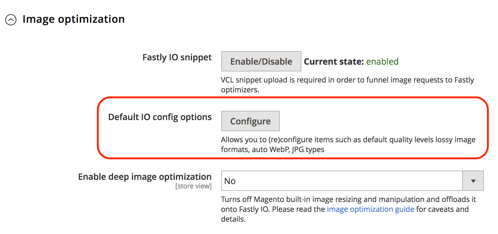 View the Fastly IO configuration settings