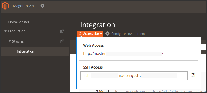 Use the Project Web Interface to manage environments
