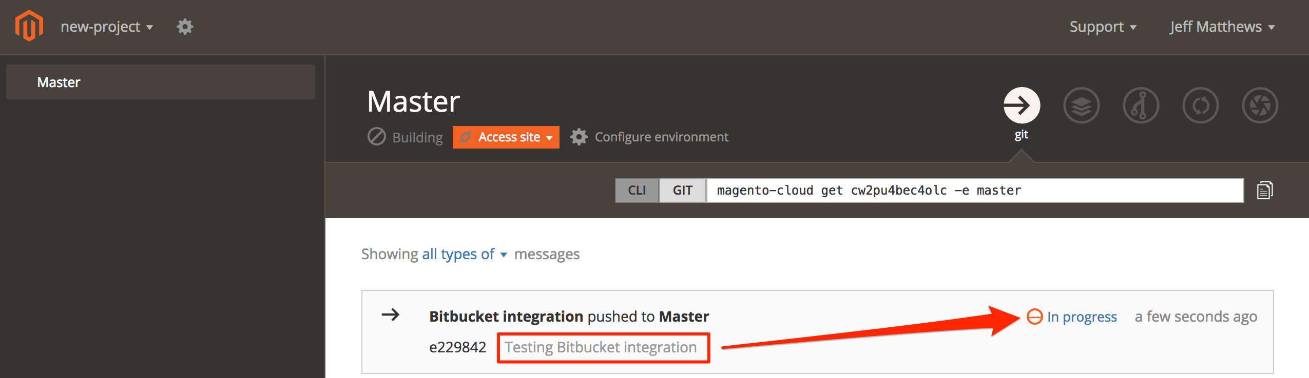 Testing the Bitbucket integration