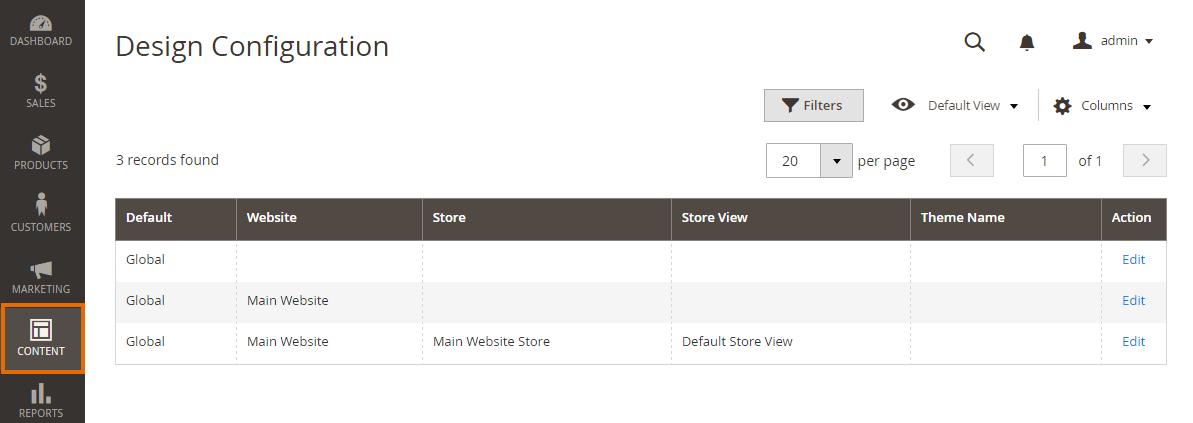 Design Configuration page