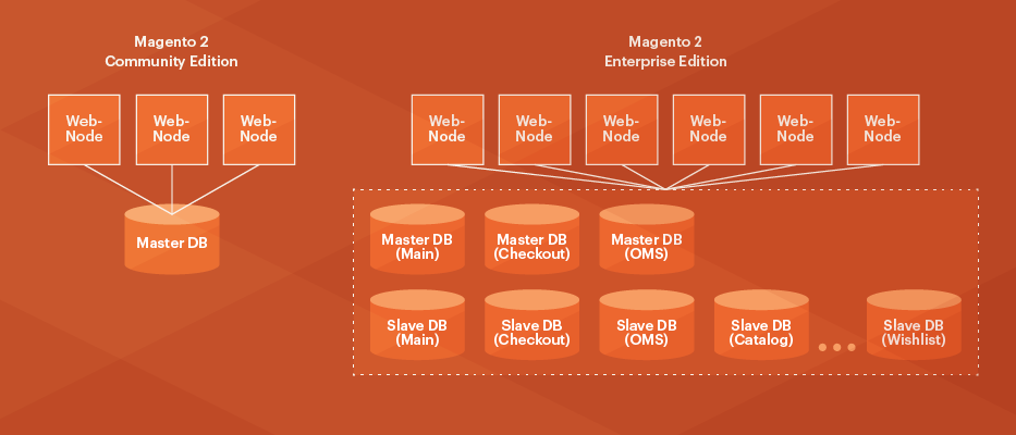 Magento EE uses different databases to store tables