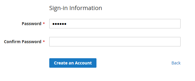 Admin login page with the default view of the primary buttons