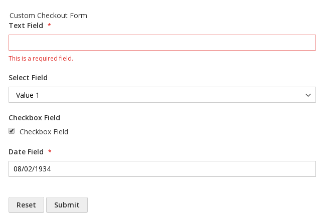 The input form with four fields