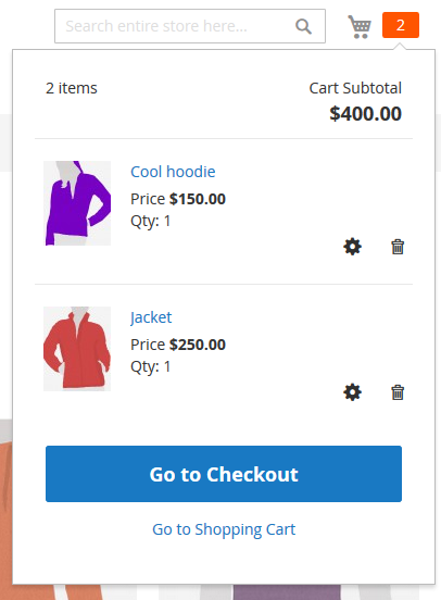 In the minishopping cart products are listed above the Go to Checkout button