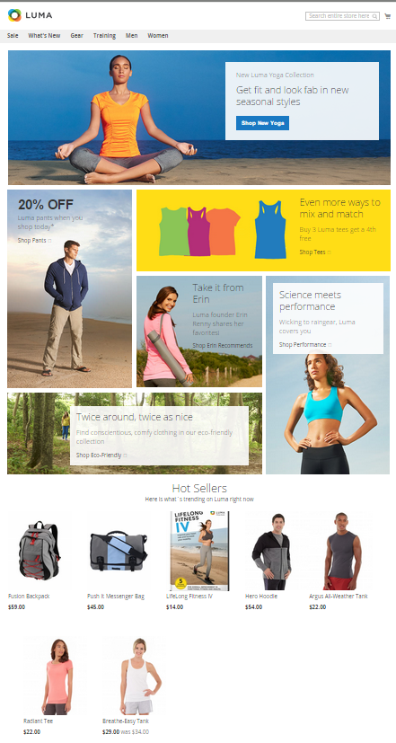 Magento storefront with the Luma theme