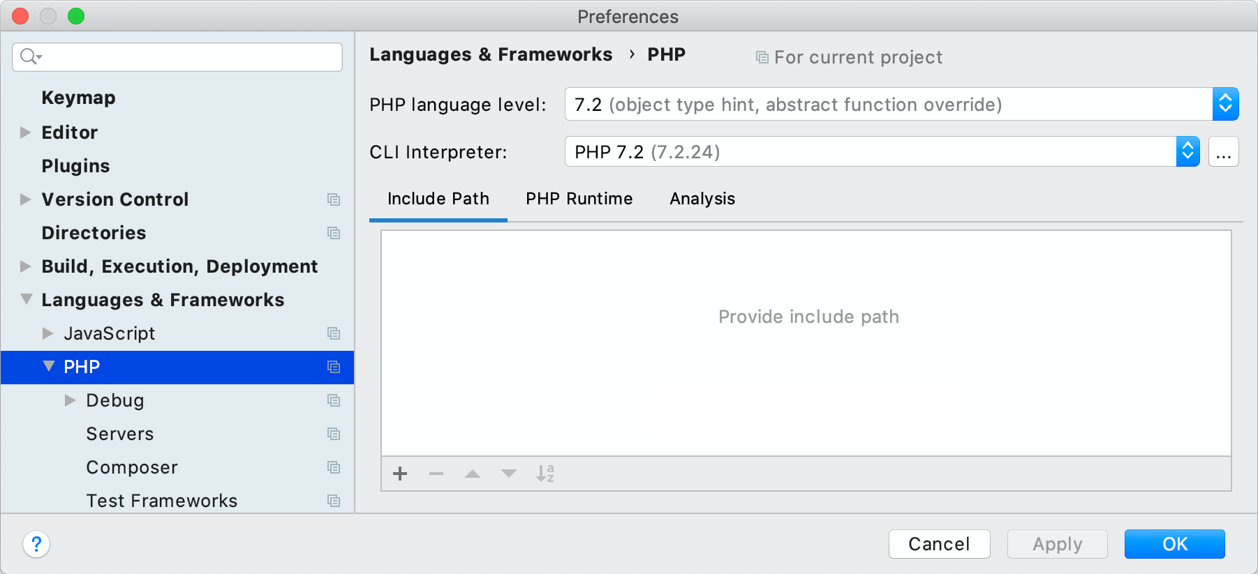 PhpStorm PHP preference panel
