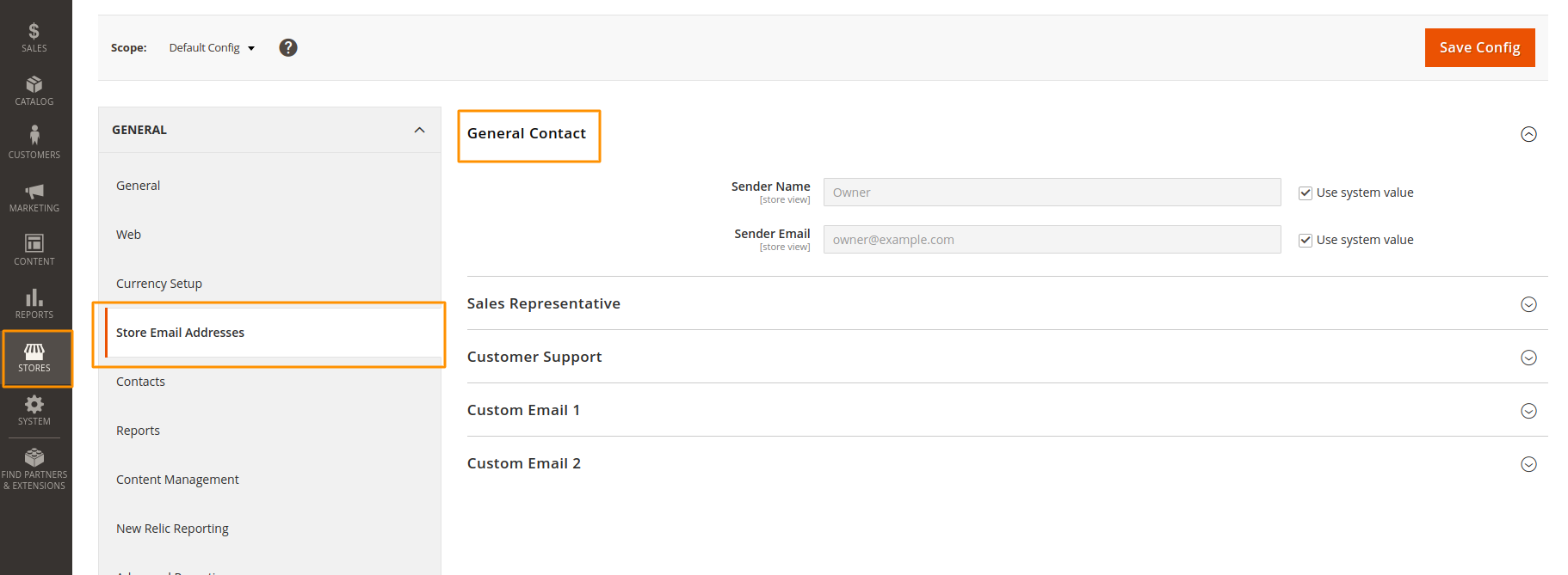 Set the store email from Magento Admin