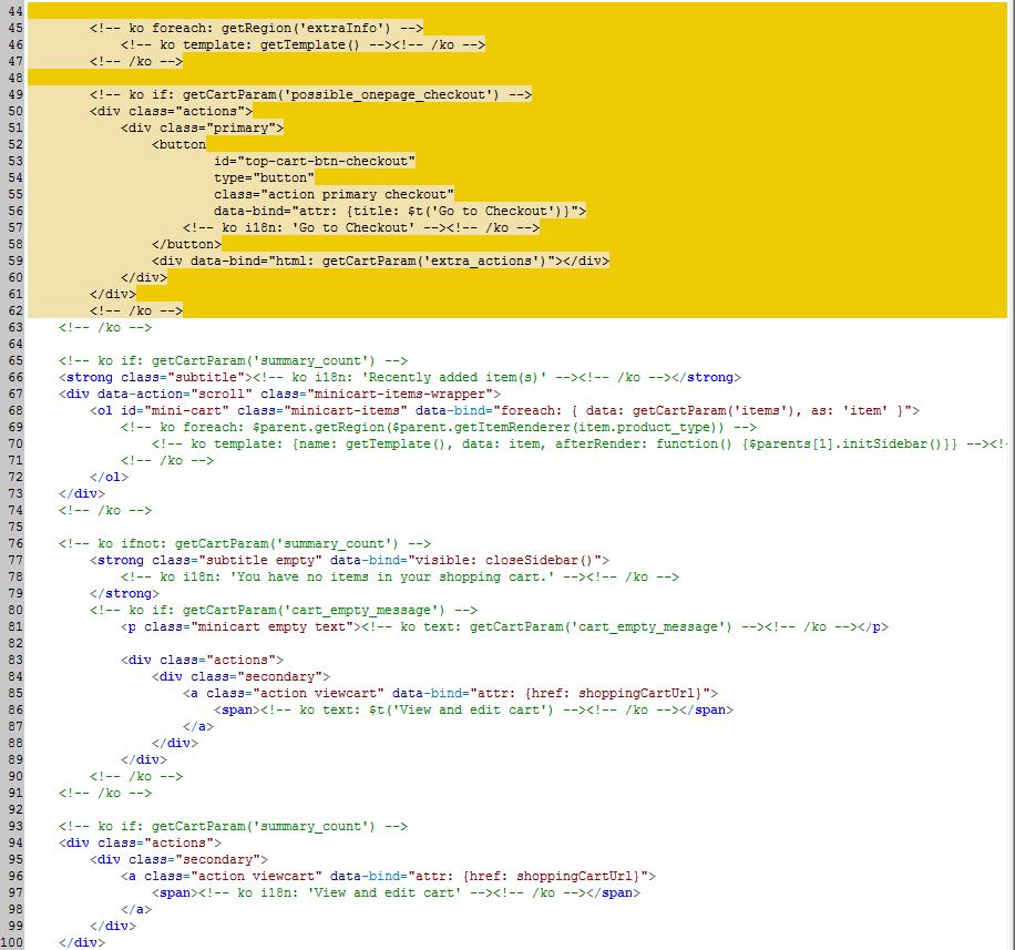 Illustration of customizing templates magento 2 developer theme and copied the contentml to the theme directory appdesignfrontendorangecoorangemagentocheckoutwebtemplate minicartcontentml maxwellsz