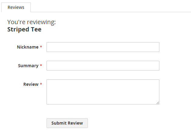a default review form
