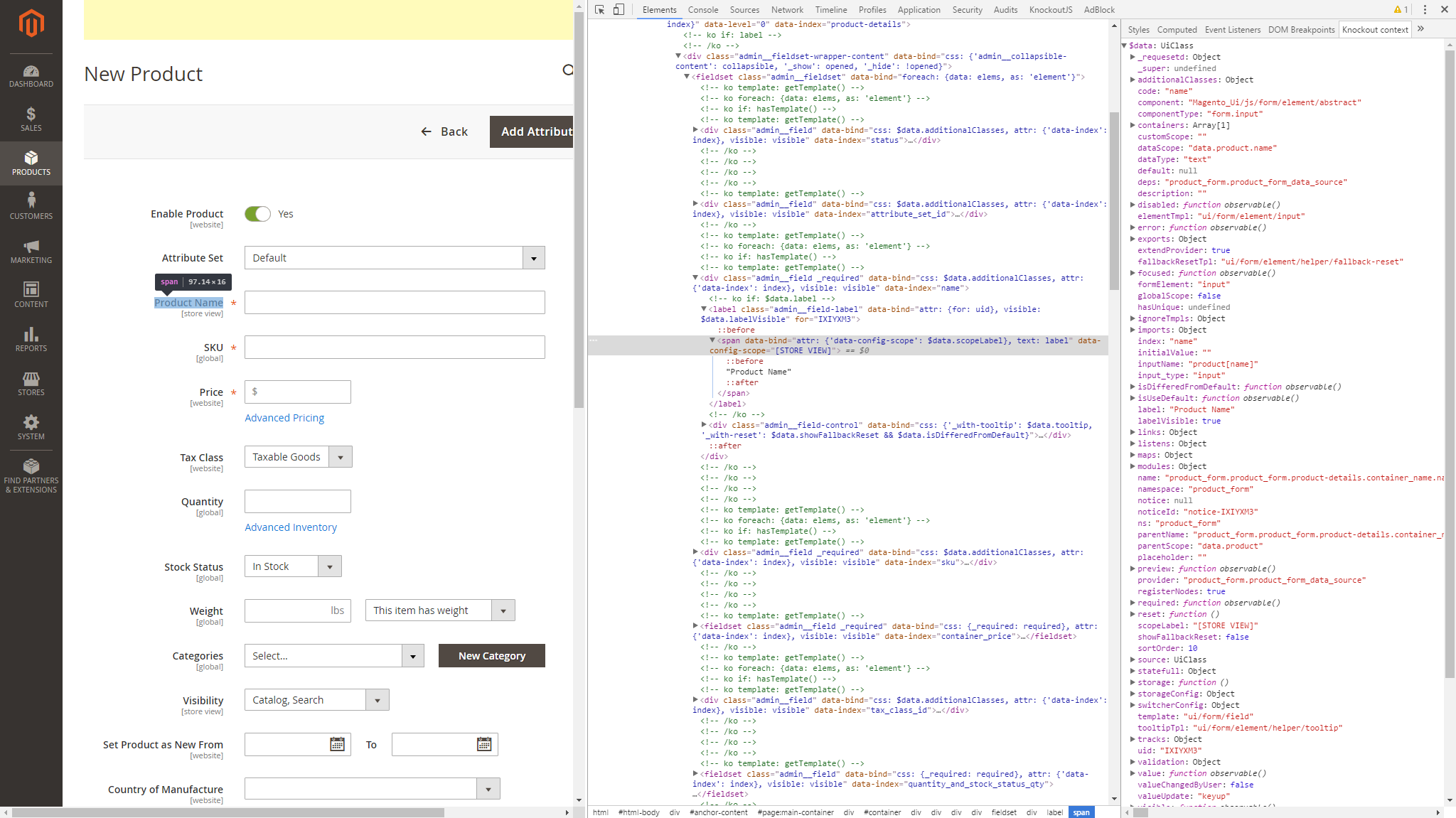 Debug ui components javascript magento 2 developer for Knockout template foreach