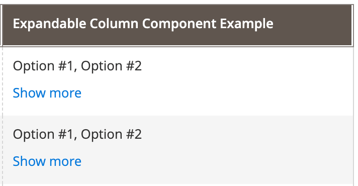 Expandable Component example