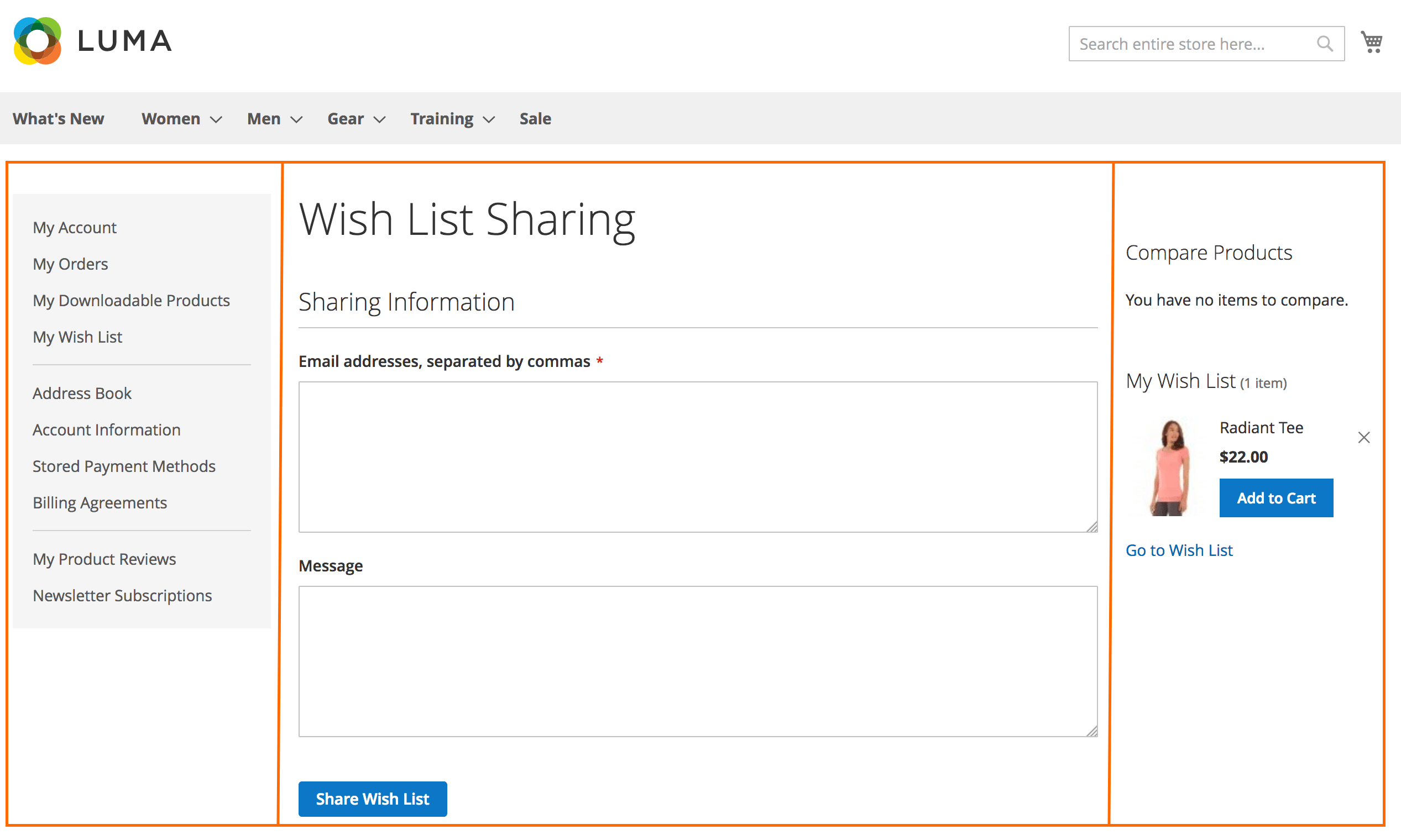 Wish List Sharing. 3 columns layout page type