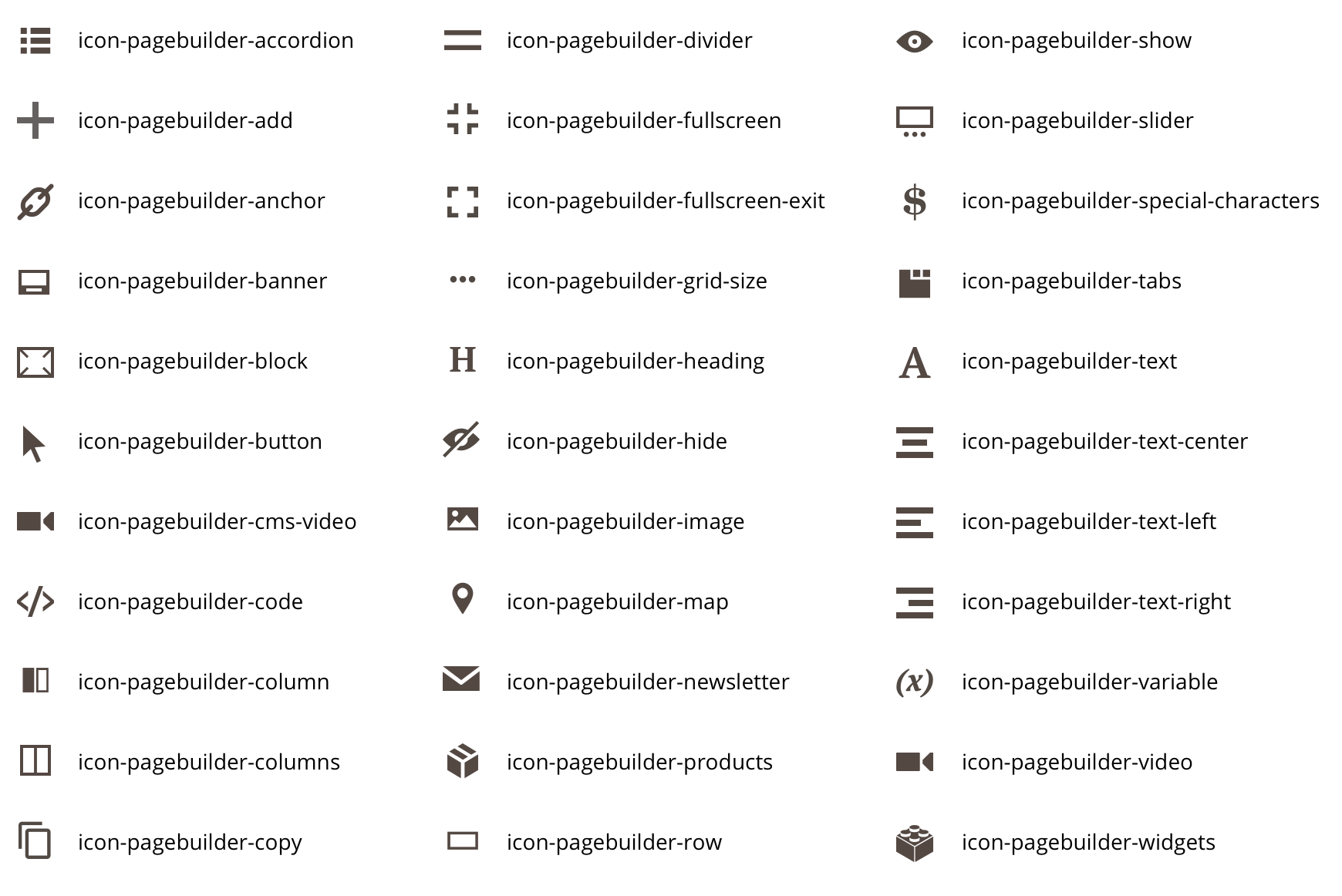 Page Builder admin icons
